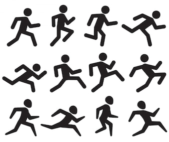 Man running figure black pictograms
