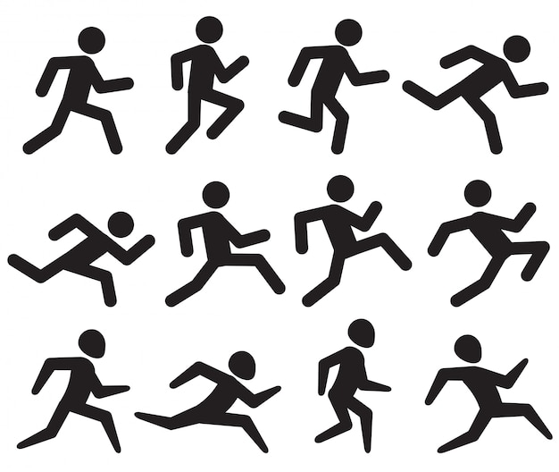 Man running figure black pictograms