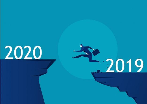 Man running from 2019 to 2020 illustration