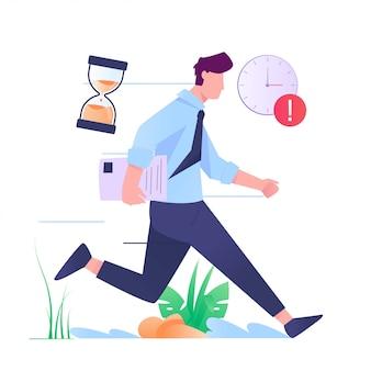 Man running hurry send papper illustration