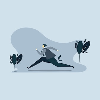 Man running illustration with blue background