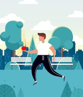 Человек работает в парке. здоровый образ жизни