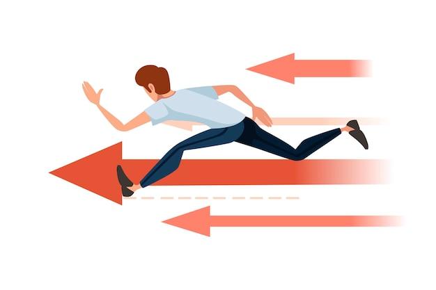 赤い矢印の概念の漫画のキャラクターデザインの白い背景の上のフラットベクトルイラストを実行している男。