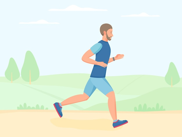 Man running outdoor in summer jogging in park doing exercise and cardio workout outside vector