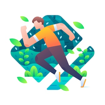 Man in running pose with forest and falling leaves