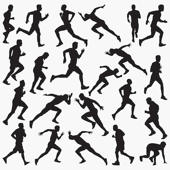 Man running silhouettes
