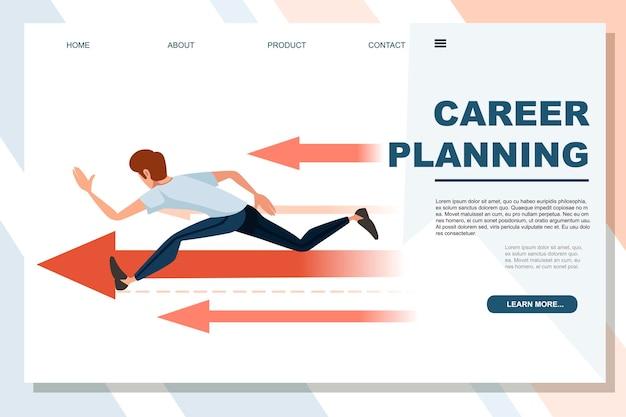 白い背景の広告バナーのウェブサイトのページに超高速キャリアプランニングコンセプト漫画のキャラクターデザインフラットベクトルイラストを実行している男。