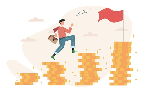 Man running to their goal on the column of money to the target achievement