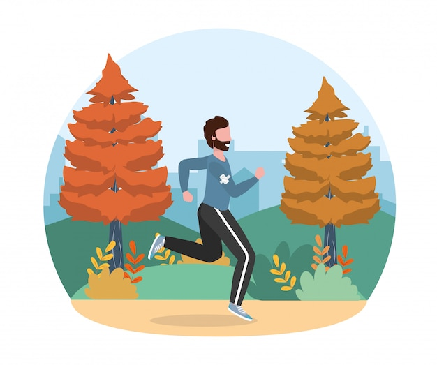 Man running training fitness exercise