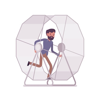 Man in a running wheel