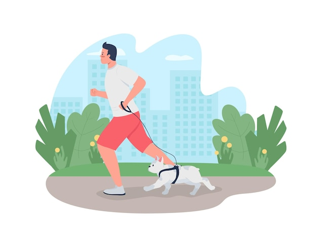 Человек бежит с собакой на поводке 2d веб-баннер, плакат