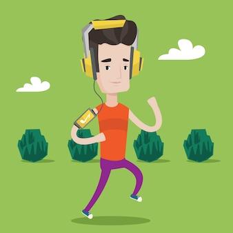 Man running with earphones and smartphone.
