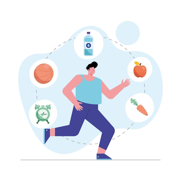 Man running with healthy icons