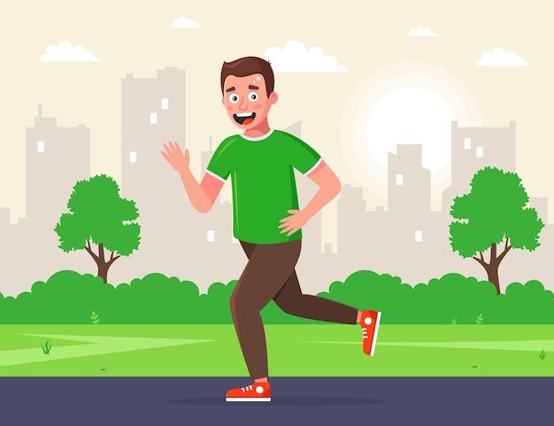 男は朝、公園を走ります。朝のジョギング。路上でスポーツをしています。