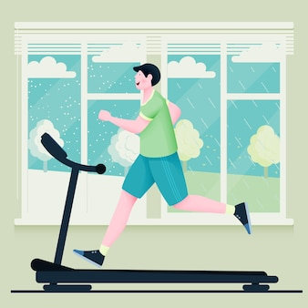 A man runs on a treadmill against the background of large windows with rainy and snowy weather.