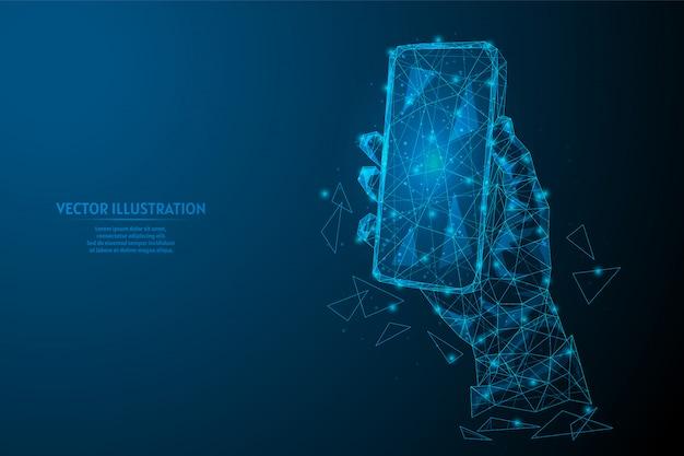 男の手は現代のスマートフォンのクローズアップを持っています。モックアップ空の電話。革新的な技術、ビジネス、インターネット、オンライン通信の概念。 3 d低ポリワイヤーフレームモデルイラスト。