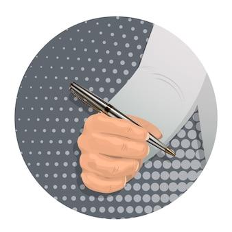 A man s hand holds a ballpoint pen.