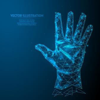 人間の手は5本の指のクローズアップを示しています。手のひらと指。ビジネスコンセプトです。革新的なテクノロジー。 3 d低ポリワイヤーフレームモデルイラスト。