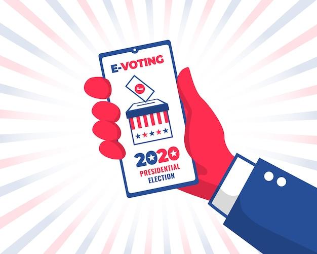 Рука человека с телефонным голосованием онлайн на президентских выборах в сша 2020 года. концепция электронного голосования