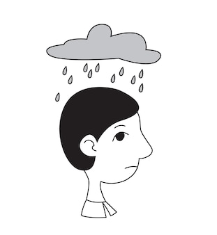 A man s head in profile with a cloud and rain above him concept psychological problems depression