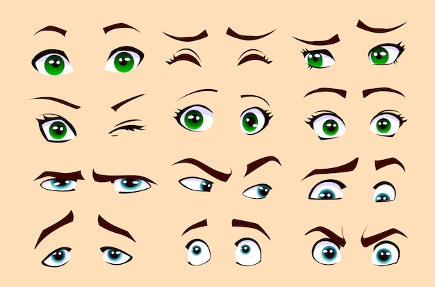 Man's and woman's emotions. set of eyes.