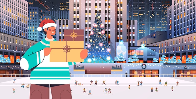 Man in santa hat holding gift box merry christmas happy new year winter holidays celebration concept night cityscape background horizontal   illustration