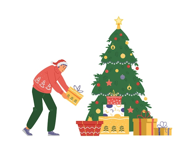 Man in santa's hat puts gift box under christmas tree. flat vector illustration.