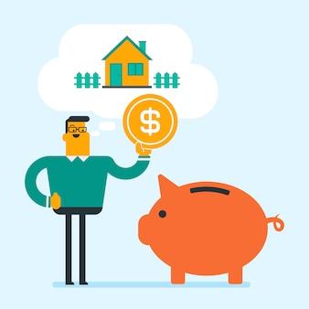 Man saving money in piggy bank for buying house.