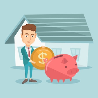 Man saving money in piggy bank for buying house.