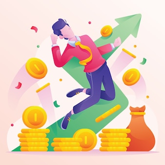 Man saving money to reach profit increase financial growth graph chart business and finance flat design style