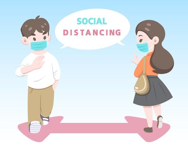 男性は社会的な距離のイラストをやっている女性に挨拶します