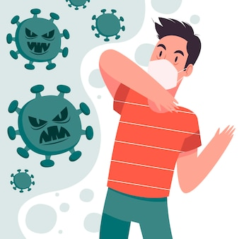 Man scared of covid-19 disease illustrated