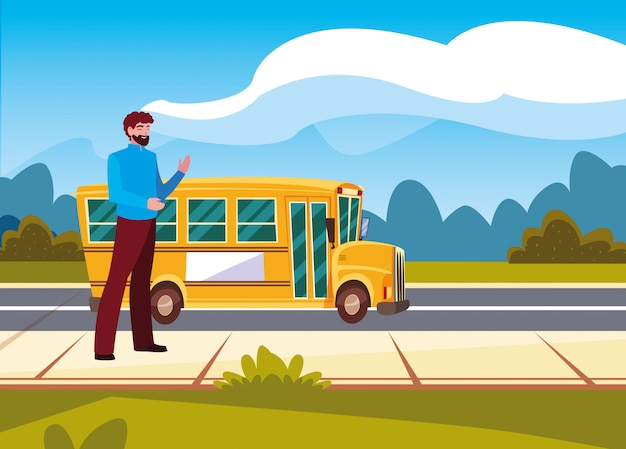 Man and school bus in the street