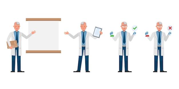 Человек ученый персонаж. презентация в различном действии.