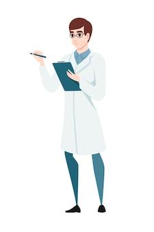 Man scientist holding checklist cartoon character design flat vector illustration on white background.