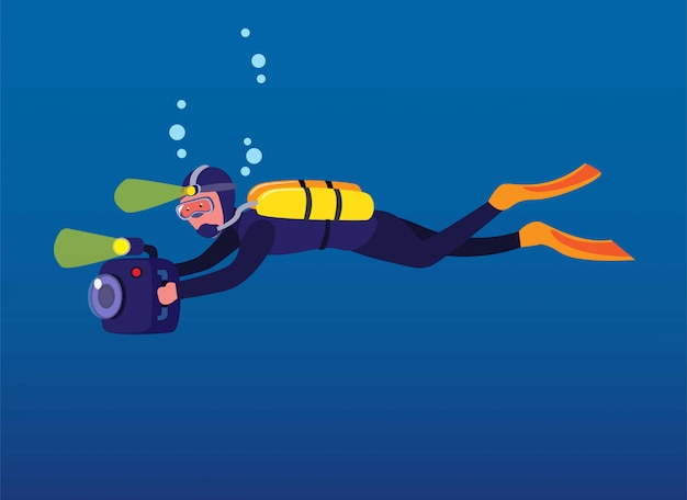 Man scuba diving holding camera, cameraman recording under water in ocean with flash light cartoon in flat illustration