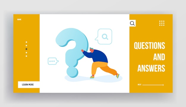 Man searching answer or solution website landing page