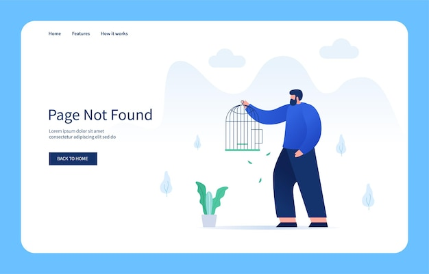 Man searching for lost bird from cage page not found empty state