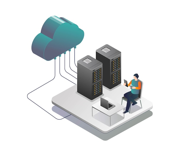 Man securing cloud server while drinking coffee