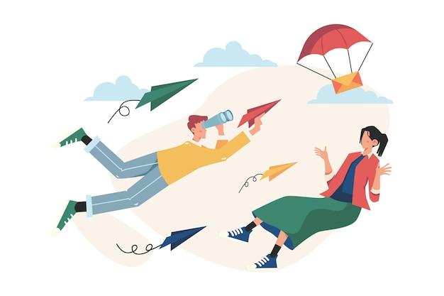 사람은 종이 비행기를 타고 목표를 달성하고 성공의 길은 동기 부여입니다. 프리미엄 벡터