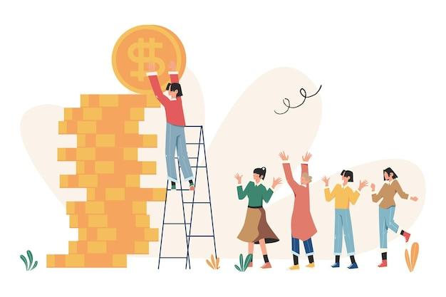 사람은 계단을 오르고 목표를 달성하고 성공의 길은 동기 부여, 경력 발전입니다.