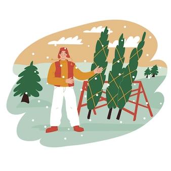 Мужчина продает елки на ярмарке векторные иллюстрации в плоский праздник праздника