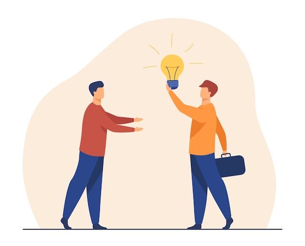 Человек продает идею для запуска. светящаяся лампочка, партнеры, поиск инвесторов. иллюстрации шаржа