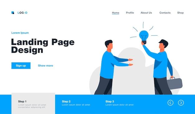 Man selling idea for startup. shining lightbulb, partners, finding investors. flat  illustration