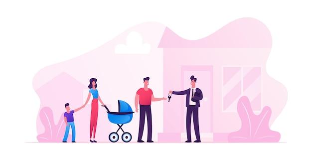 아이들과 함께 젊은 사람들의 부부에게 집을 팔거나 임대하는 남자 프리미엄 벡터