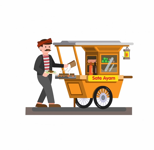 Man selling satay chicken indonesian traditional food in cart cartoon flat illustration   isolated