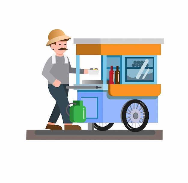 Man selling traditional street food noodle meatball soup, cart, trolley, flat design