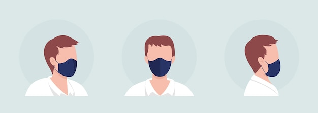 Man semi flat color vector character avatar with mask set