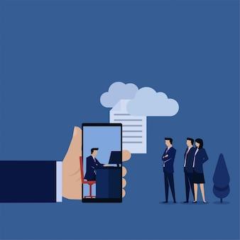 男はオンライン作業のクラウドメタファーを介してファイルを送信し、自宅から作業します。ビジネスフラットの概念図。