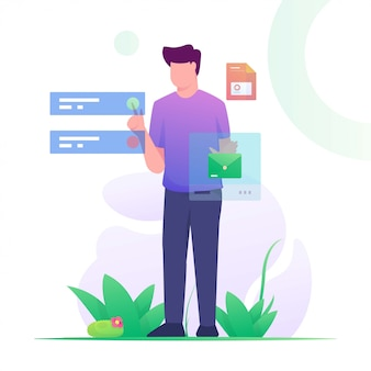 Man send message touch flat illustration